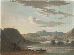 Aquatint of Rydal Water from 'Cumberland, Westmorland & Lancashire Illustrated', by T.H. Fielding, 1822